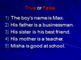 True or False: The boy's name is Max. His father is a businessman. His sister is his best friend. His mother is a teacher. Misha is good at school.