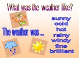 What was the weather like? The weather was ... sunny cold hot rainy windy fine brilliant