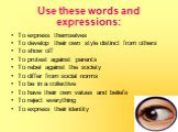 Use these words and expressions: To express themselves To develop their own style distinct from others To show off To protest against parents To rebel against the society To differ from social norms To be in a collective To have their own values and beliefs To reject everything To express their iden