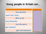 Young people in Britain can…