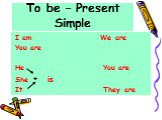 To be – Present Simple. I am We are You are He You are She is It They are