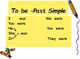 To be –Past Simple. I was We were You were He You were She was It They were
