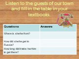Listen to the guests of our town and fill in the table in your textbooks.