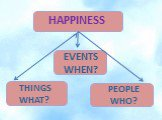 EVENTS WHEN? THINGS WHAT? PEOPLE WHO?