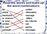 Read the words and make up the word combinations. fax phone electronic to receive to send printed to use computer. system information message letters the Internet call games messages