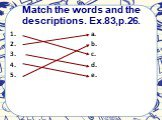 Match the words and the descriptions. Ex.83,p.26. 1. 2. 3. 4. 5. a. b. c. d. e.