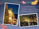 In Trafalgar Square in London in front of the National Gallery, stands an enormous Christmas tree.