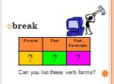 break Can you list these verb forms?