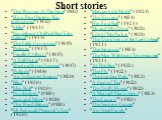 """Short stories. """"The Woman At The Store"""" (1912) """"How Pearl Button Was Kidnapped"""" (1912) """"Millie"""" (1913) """"Something Childish But Very Natural"""" (1914) """"The Little Governess"""" (1915) """"Pictures"""" (1917) """"Feuille d'Album"""" (1917) """"A D"""