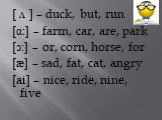 [ ᴧ ] – duck, but, run [α:] – farm, car, are, park [ͻ:] – or, corn, horse, for [æ] – sad, fat, cat, angry [ai] – nice, ride, nine, five