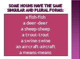 SOME NOUNS HAVE THE SAME singular and plural forms: a fish-fish a deer-deer a sheep-sheep a trout-trout a swine-swine an aircraft-aircraft a means-means