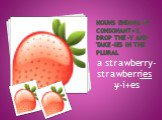 Nouns ending in consonant+y, drop the –y and take –ies in the plural. a strawberry-strawberries y-i+es