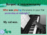 Вопрос к подлежащему. Who was playing the piano in your flat yesterday at midnight? My cat was..