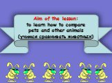 Aim of the lesson: to learn how to compare pets and other animals (учимся сравнивать животных)