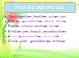 Find the odd one out. Grandmother, brother, sister, cat Mother, grandfather, black, father Father, school, mother, sister Brother, pet, family, grandmother Aunt, grandmother, son, café Uncle, park, grandfather, brother