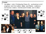 Сareer His father, John Christopher Depp, Sr., worked as a civil engineer, and his mother, Betty sue Palmer, waitress]. He has two sisters, Debbie and Christie, and brother Daniel.