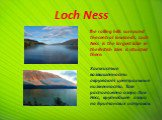 Loch Ness. The rolling hills surround the central lowlands. Loch Ness is the largest lake in the British Isles is situated there. Холмистые возвышенности окружают центральные низменности. Там расположено озеро Лох-Несс, крупнейшее озеро на Британских островах.