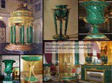 The columns, pilasters, and floorlamps are veneered with thin plaques of rich green malachite.