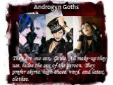 Androgyn Goths. They are «no sex» Goths. All make-up they use, hides the sex of the person. They prefer skirts, high shoes, vinyl, and latex clothes.