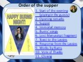 Order of the supper. 1. Start of the evening (piping in the guests) 2. Opening remarks 3. Supper 4. Immortal memory 5. Burns' songs 6. Lost Manuscript Fragment 7. Toast to the Lassies 8. Response from the Lassies 9. Works by Burns 10. Vote of Thanks 11. Closing