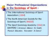 Major Professional Organizations in the Sociology of Sport : The International Sociology of Sport Association (ISSA) The North American Society for the Sociology of Sport (NASSS) The Sport Sociology Academy (SSA) in AAHPERD (American Alliance for Health, Physical Education, Recreation & Dance)