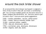 Around the clock bridal shower. At an around-the-clock shower each guest is assigned a time of day to which they will purchase a coordinating gift. You can have multiple guests do the same time for a larger category like dinnertime, etc. Not sure what to get for which hour? Here are some great sugge