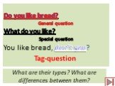 What are their types? What are differences between them? Do you like bread? General question What do you like? Special question You like bread, don't you? Tag-question