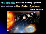 The Milky Way consists of many systems. One of them is the Solar System, where we live.