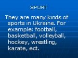 SPORT. They are many kinds of sports in Ukraine. For example: football, basketball, volleyball, hockey, wrestling, karate, ect.