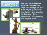Lawyer. Lawyer- an individual who has professional legal knowledge in the field of jurisprudence, legislation and practice. In Germany, this profession is necessary and highly paid.