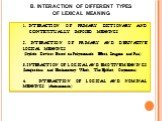 B. INTERACTION OF DIFFERENT TYPES OF LEXICAL MEANING. INTERACTION OF PRIMARY DICTIONARY AND CONTEXTUALLY IMPOSED MEANINGS 2. INTERACTION OF PRIMARY AND DERIVATIVE LOGICAL MEANINGS (Stylistic Devices Based on Polysemantic Effect, Zeugma and Pun) 3. INTERACTION OF LOGICAL AND EMOTIVE MEANINGS (Interje