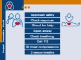 Approach safely Check response Shout for help Open airway Check breathing Call 112 30 chest compressions 2 rescue breaths