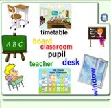 window classroom timetable teacher pupil desk board. Match the words with the pictures. Pull the words to the pictures. If you are right, the word will swirl. If not - it will go back to it's place. *** Cоедините слова с картинками. Тяните слова к картинкам. Если вы правы, то слово будет вращаться.