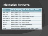 Information functions