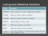 Lookup and reference functions