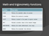 Math and trigonometry functions